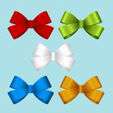 Set of gift bows. Concept for invitation, banners, gift cards, congratulation or website layout vector. Stock Photos