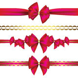 Set of gift bows with ribbon Stock Photo