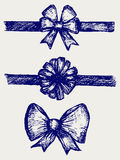 Set gift bows with ribbons. Doodle style. Vector Stock Photos