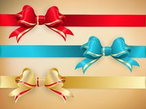 Set of gift bows with ribbons. EPS 10 Stock Photo