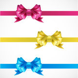 Set of gift bows with ribbons. Pink, gold and blue Stock Photos