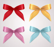 Set of gift bows (ribbons, present symbol) Stock Photo
