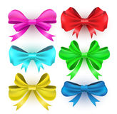 Set gift bows with ribbons. Royalty Free Stock Image