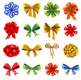 Set of gift bows with ribbons Stock Photo