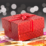 Set of gift box on background bokeh for Christmas background Royalty Free Stock Photos