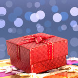Set of gift box on background bokeh for Christmas background Stock Images