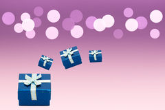 Set of gift box on background bokeh for Christmas background Royalty Free Stock Photography