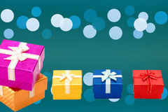 Set of gift box on background bokeh for Christmas background Stock Image