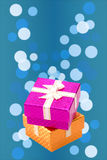 Set of gift box on background bokeh for Christmas background Royalty Free Stock Image