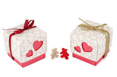 Set of gift box and bears isolated Stock Photography