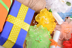 Set of gift box, bow and ribbons Royalty Free Stock Images