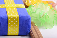 Set of gift box, bow and ribbons Stock Photography