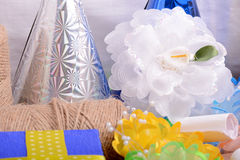 Set of gift box, bow and ribbons Royalty Free Stock Photos