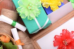 Set of gift box, flowers and ribbons Royalty Free Stock Photo