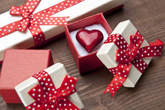 Set of gift box with hart Stock Photos