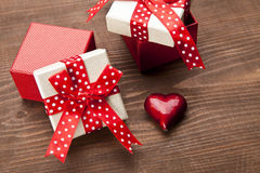 Set of gift box with hart Stock Photography