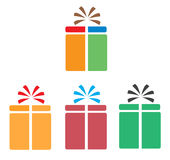 Set gift box icon on white background. Royalty Free Stock Photo