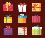 Set Gift Box Presents Wrapped Package Icons Vector. Set of gift box presents wrapped packages icons vector. Packed holiday boxing with bows and ribbon decoration Royalty Free Stock Photo