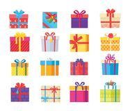 Set Gift Box Presents Wrapped Package Icons Vector. Set of gift box presents wrapped packages icons vector. Packed holiday boxing with bows and ribbon decoration Stock Images
