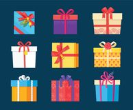 Set Gift Box Presents Wrapped Package Icons Vector. Set of gift box presents wrapped packages icons vector with bells and flowers. Packed holiday boxing with Royalty Free Stock Photo