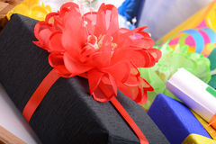 Set of gift box and red bow Royalty Free Stock Photo