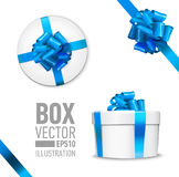 Set of  gift box. White round gift box with shiny blue beautiful curly bow and ribbon. Top view, side view. Isolated on blue Background Stock Image