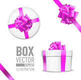 Set of  gift box. White round gift box with shiny pink beautiful curly bow and ribbon. Top view, side view. Isolated on blue Background Stock Photography