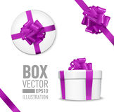 Set of  gift box. White round gift box with shiny purple beautiful curly bow and ribbon. Top view, side view. Isolated on blue Backgroundn Stock Image