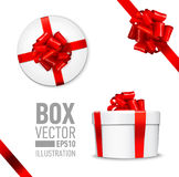 Set of  gift box. White round gift box with shiny red beautiful curly bow and ribbon. Top view, side view. Isolated on blue Background Royalty Free Stock Photo