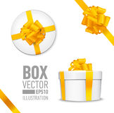 Set of  gift box. White round gift box with shiny yellow beautiful curly bow and ribbon. Top view, side view Stock Photo