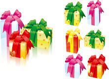 Set of gift boxes. Vector illustration of set of gift boxes with bows - three kinds of colors Stock Photography