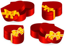 Set of gift boxes. Set of red gift boxes in the form of heart royalty free illustration