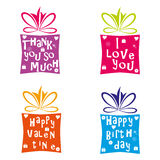 Set of gift boxes. Vector illustration of colorful gift boxes Stock Image