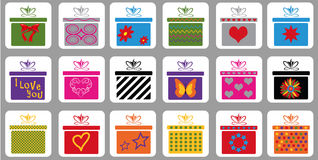 Set of gift boxes. Illustration - set of 18 different gift boxes Royalty Free Stock Images