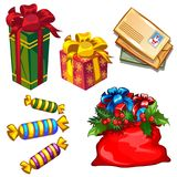 Set of gift boxes and bag with gifts, letters to Santa Claus, candy isolated on white background. Sketch for greeting. Card, festive poster, party invitations Stock Images