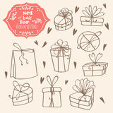 Set of gift boxes with bow. In lines. performed doodle style Royalty Free Stock Photos