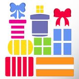 Set of gift boxes and bows vector Stock Photos