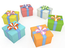 Set of gift boxes, 3D. Set of colored gift boxes with ribbon, 3D Royalty Free Stock Images