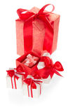 Set of gift boxes decorated with colorful ribbons Royalty Free Stock Image