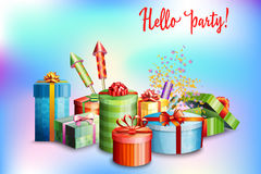 Set of gift boxes of different design and fireworks on abstract blurred background. Vector. Illustration Royalty Free Stock Photo