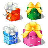 Set of gift boxes green, blue, red and pink color stock illustration