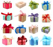 Set of gift boxes. A set of gift boxes, holiday presents Royalty Free Stock Photos