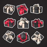 Set Of Gift Boxes Icon With Bow And Ribbon On Black Background Imagen de archivo