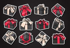 Set Of Gift Boxes Icon With Bow And Ribbon On Black Background Fotos de archivo