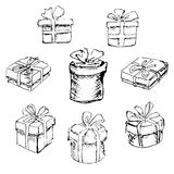 Set of gift boxes. Set of  isolated black and white gift boxes Stock Image