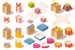 Set of gift boxes. Opened and closed colorful packaging isolated on white background. Isometric vector illustration.  Stock Photo
