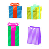 Set of gift boxes and paper bag vector. Royalty Free Stock Image