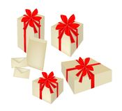 Set of Gift Boxes with Red Ribbon and Cards Stock Photography