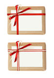 Set of gift boxes with ribbon bow and a card Royalty Free Stock Photos