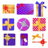 Set of gift boxes with ribbons and bows. Vector illustration Stock Image